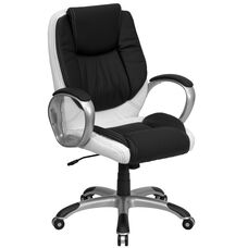 Mid-Back Black and White Leather Executive Swivel Chair with Arms