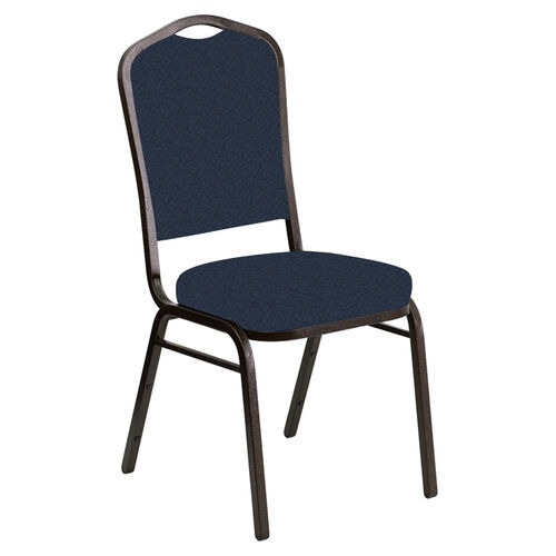 Our Embroidered Crown Back Banquet Chair in Bonaire Navy Fabric - Gold Vein Frame is on sale now.