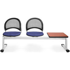 Moon 3-Beam Seating with 2 Colonial Blue Fabric Seats and 1 Table - Cherry Finish