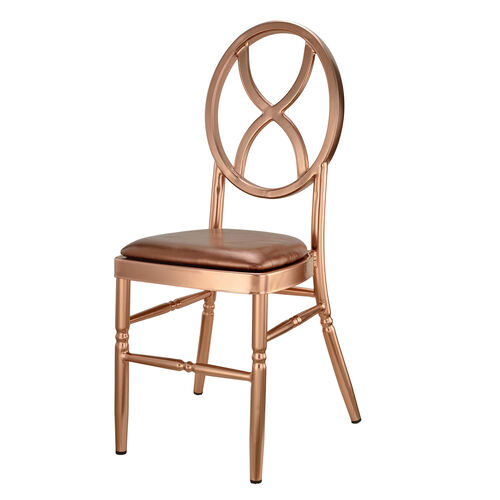 Our Velika Series Stackable Sand Glass Aluminum Dining Chair Roe Gold Vinyl Cushion - Rose Gold is on sale now.