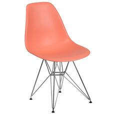 Elon Series Peach Plastic Chair with Chrome Base