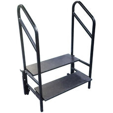Portable 2 Step Stage and Seated Riser with Heavy - Gauge Frame and Handrail - 36