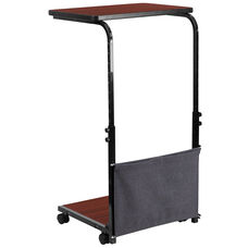 Mobile Sit-Down, Stand-Up Mahogany Computer Desk with Removable Pouch (Adjustable Range 27