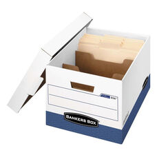 Bankers Box® R-KIVE Maximum Strength Storage Box - Letter/Legal - Locking Lid - White/Blue - 12/CT