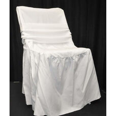 Renaissance Series Ruffled Shrink Resistant Polyester Chair Cover with 6