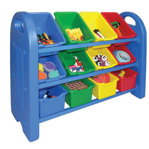 3-Tier Storage Organizer with Built-in Handles and 12 Primary Colors Scoop-Front Bins