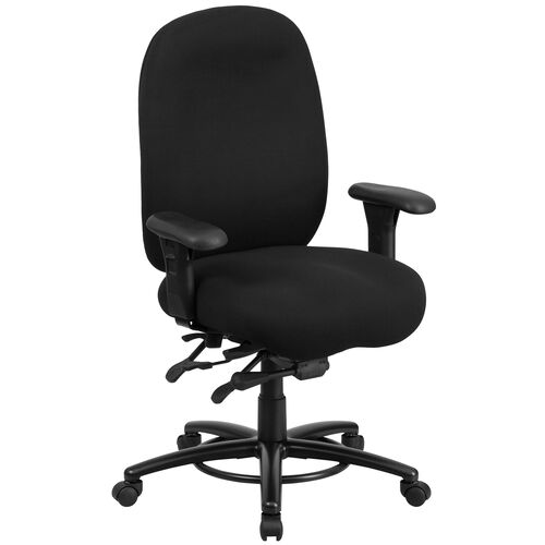 HERCULES Series 24/7 Intensive Use Big & Tall 350 lb. Rated Black Fabric Multifunction Ergonomic Office Chair - Foot Ring