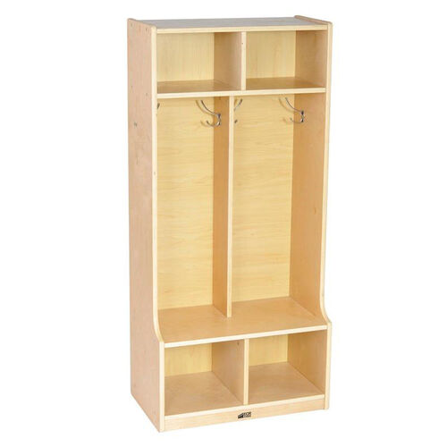 Our Birch Hardwood Two Section 4 Hook Coat Locker with Bench and 4 Cubbies - Natural is on sale now.