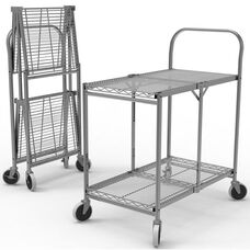 Two Shelf Collapsible Wire Transport Cart - 33.75