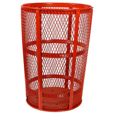 Expanded Vertically Ribbed Durable Metal Receptacle - Red