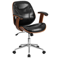 Mid-Back Black Leather Executive Ergonomic Wood Swivel Office Chair with Arms