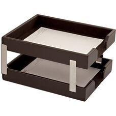 Bonded Leather Double Letter Trays - Dark Brown