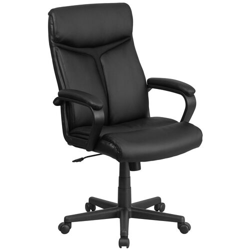 Our High Back Black Leather Executive Swivel Office Chair with Slight Mesh Accent and Arms is on sale now.