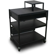 Spartan Series Adjustable Cart with One Pull-Out Front-Shelf and Expansion Shelf - Black
