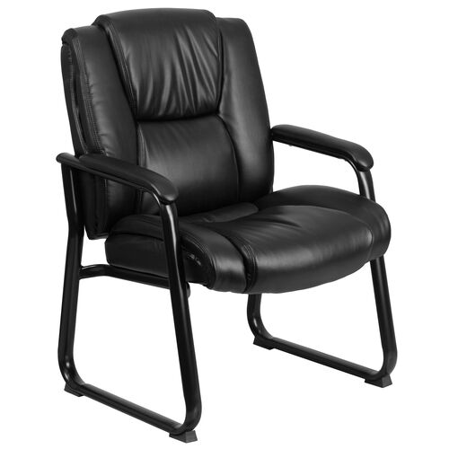 Our HERCULES Series Big & Tall 500 lb. Rated Black Leather Tufted Executive Side Reception Chair with Sled Base is on sale now.