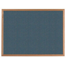 VIC Cork Bulletin Board with Red Oak Frame - Blue - 36