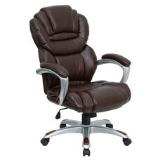 High Back Brown Leather Executive Swivel Chair with Arms