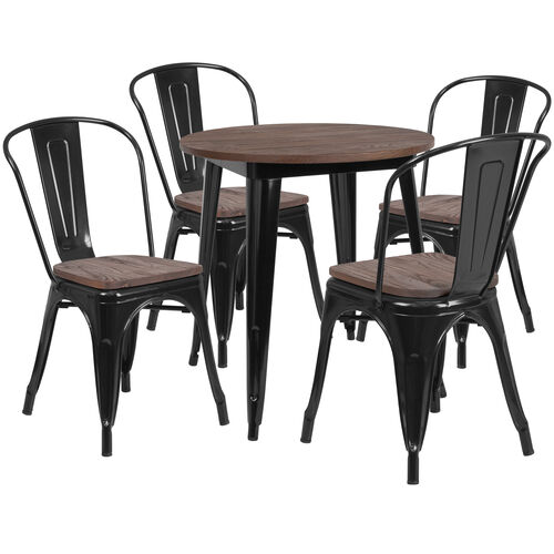 """Our 26"""" Round Black Metal Table Set with Wood Top and 4 Stack Chairs is on sale now."""