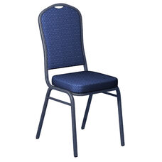 Embroidered Biltmore Blue Sky Fabric Upholstered Crown Back Banquet Chair - Silver Vein Frame