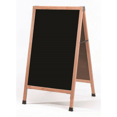 A-Frame Sidewalk Black Melamine Marker Board with Solid Red Oak Frame - 42