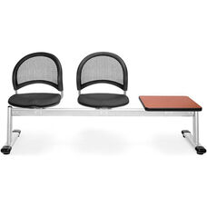 Moon 3-Beam Seating with 2 Slate Gray Fabric Seats and 1 Table - Cherry Finish