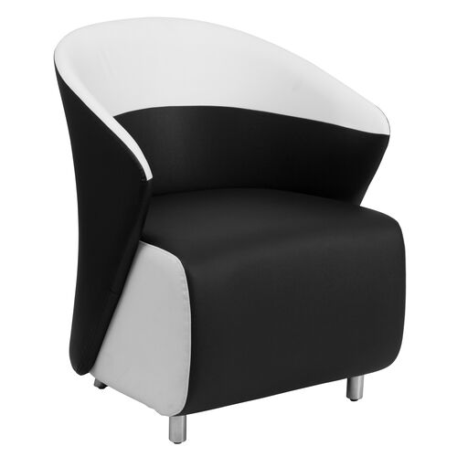 Our Black LeatherSoft Curved Barrel Back Lounge Chair with Melrose White Detailing is on sale now.