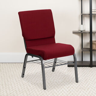 HERCULES Series 18.5''W Church Chair in Burgundy Fabric with Book Rack - Silver Vein Frame