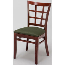 4300 Series Wood Frame Armless Hospitality Chair with Wood Grid Back and Upholstered Seat