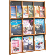 Expose™ Nine Magazine Eighteen Pamphlet Display with Plastic Front Panel - Medium Oak