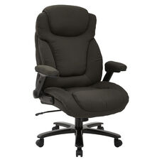 Pro-Line II Big and Tall Deluxe High Back Fabric Executive Office Chair with Padded Flip Arms - 400 lb. Weight Capacity - Charcoal