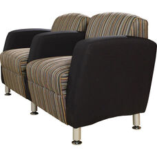 Quick Ship Accompany Two Seater Lounge with Metal Legs