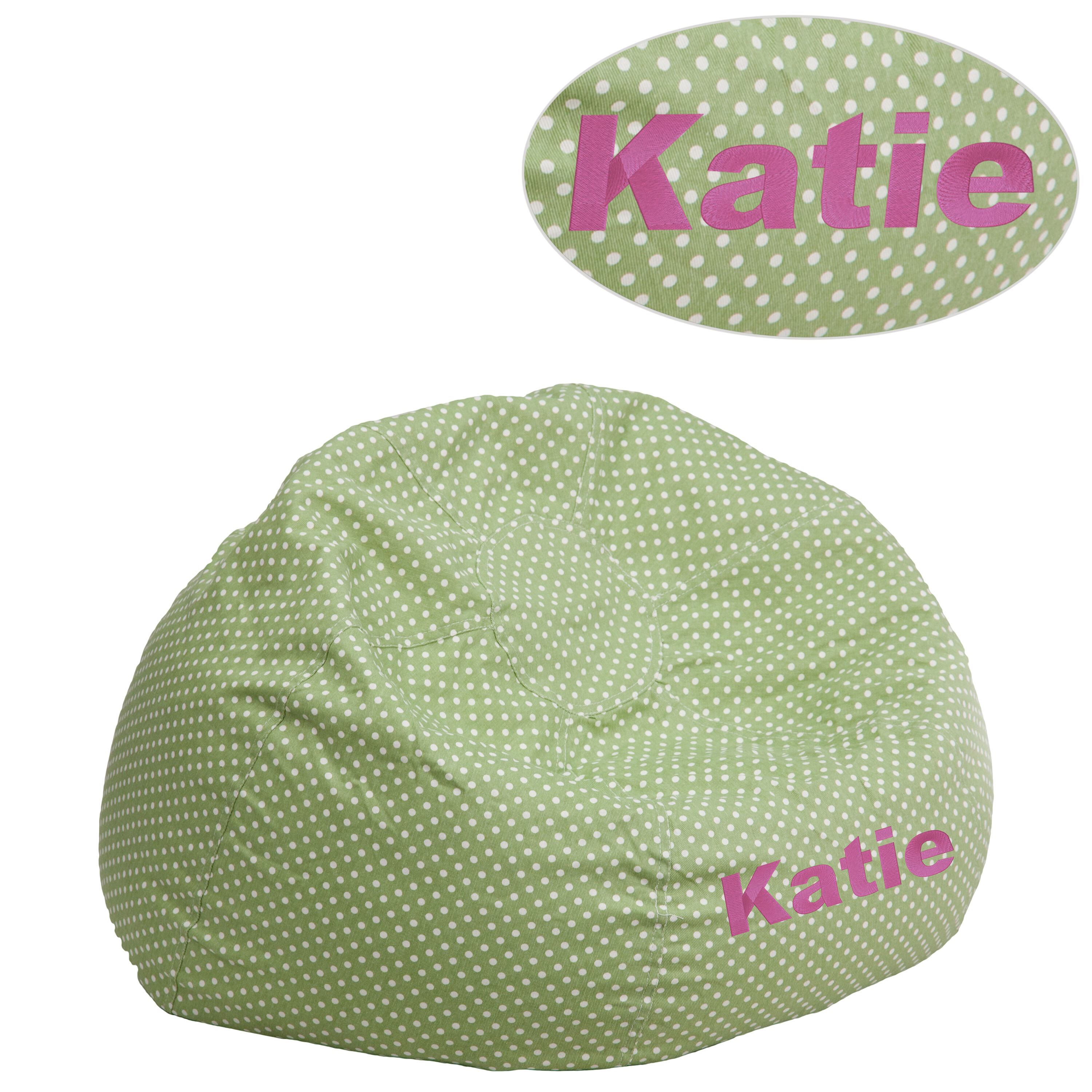 ... Our Personalized Small Green Dot Kids Bean Bag Chair Is On Sale Now.