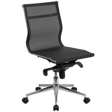 Mid-Back Transparent Black Mesh Executive Swivel Chair with Synchro-Tilt Mechanism