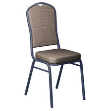 Embroidered Biltmore Dune Fabric Upholstered Crown Back Banquet Chair - Silver Vein Frame