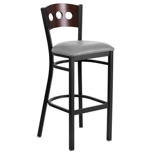 Our Black Decorative 3 Circle Back Metal Restaurant Barstool with Walnut Wood Back & Custom Upholstered Seat is on sale now.