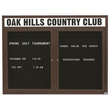 2 Door Outdoor Enclosed Directory Board with Header and Bronze Anodized Aluminum Frame - 48
