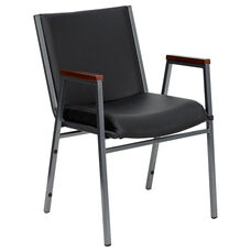 HERCULES Series Heavy Duty Black Vinyl Fabric Stack Chair with Arms