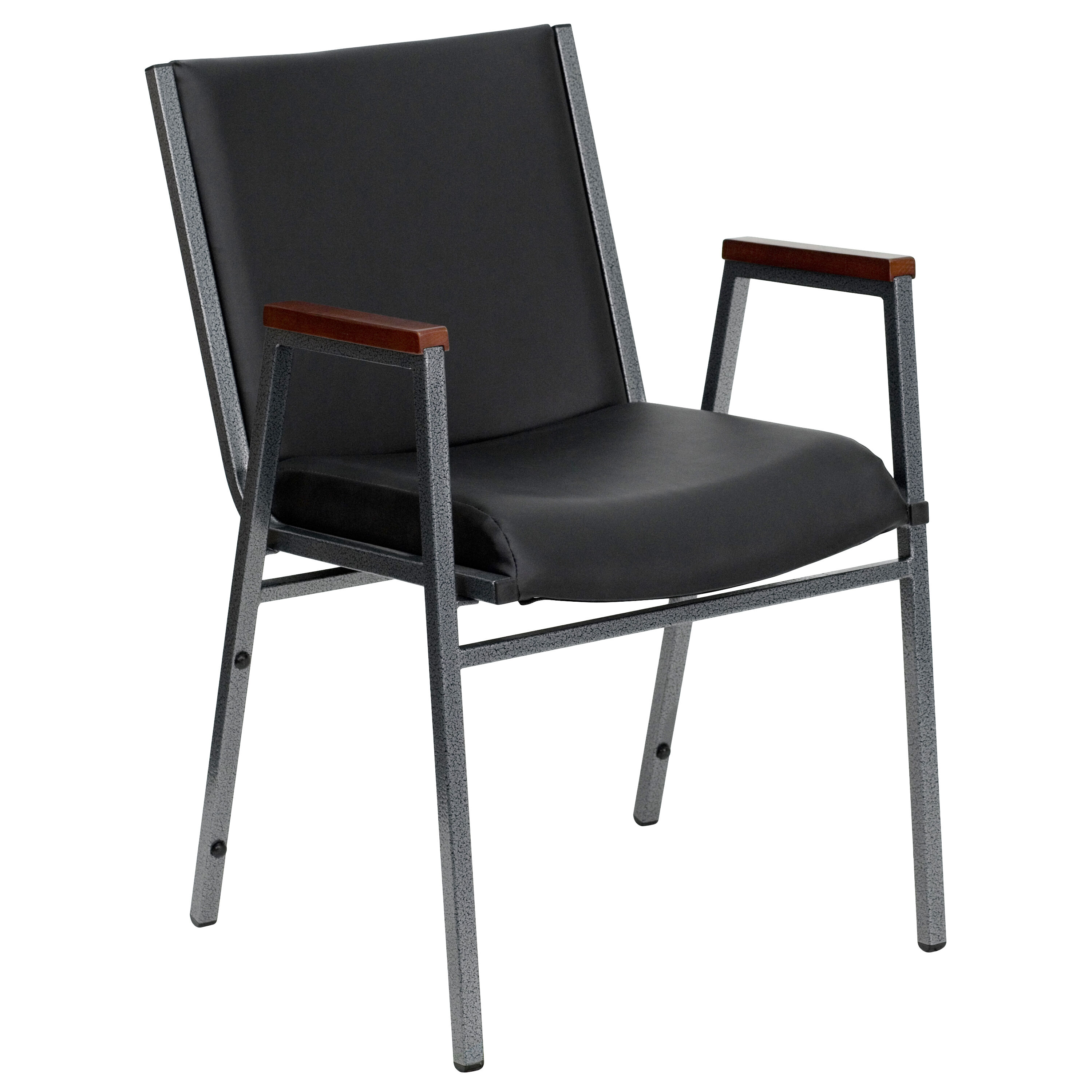 ... Our HERCULES Series Heavy Duty Black Vinyl Stack Chair With Arms Is On  Sale Now.