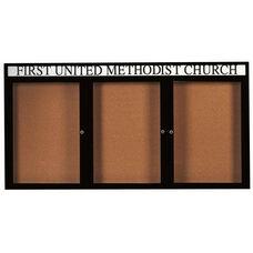 3 Door Indoor Enclosed Bulletin Board with Header and Black Powder Coated Aluminum Frame - 48