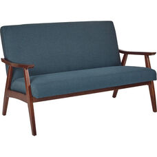 Ave Six Davis Loveseat - Klein Azure and Medium Espresso