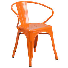 Orange Metal Indoor-Outdoor Chair with Arms