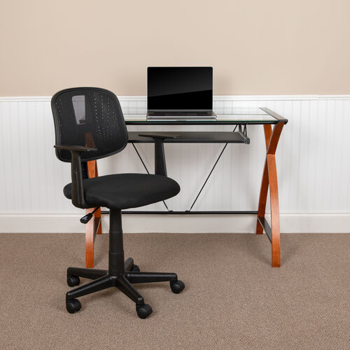 Our Basics Mid-Back Mesh Swivel Task Office Chair with Pivot Back and Arms, Black, BIFMA Certified is on sale now.