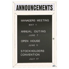 1 Door Indoor Enclosed Directory Board with Header and White Anodized Aluminum Frame - 48