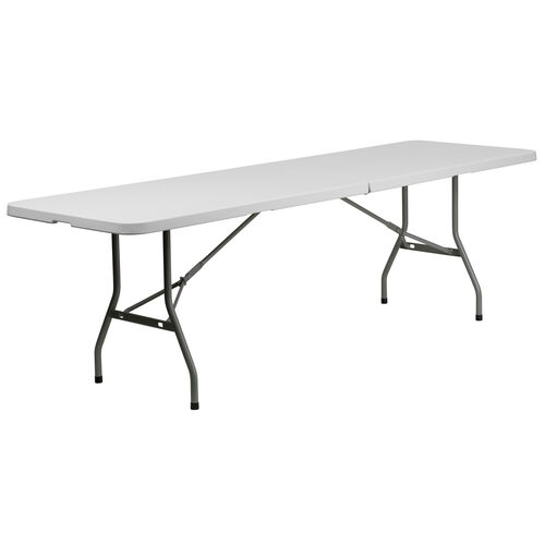 Our 8-Foot Bi-Fold Granite White Plastic Banquet and Event Folding Table with Carrying Handle is on sale now.