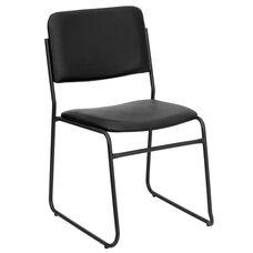 HERCULES Series 1000 lb. Capacity High Density Black Vinyl Stacking Chair with Sled Base