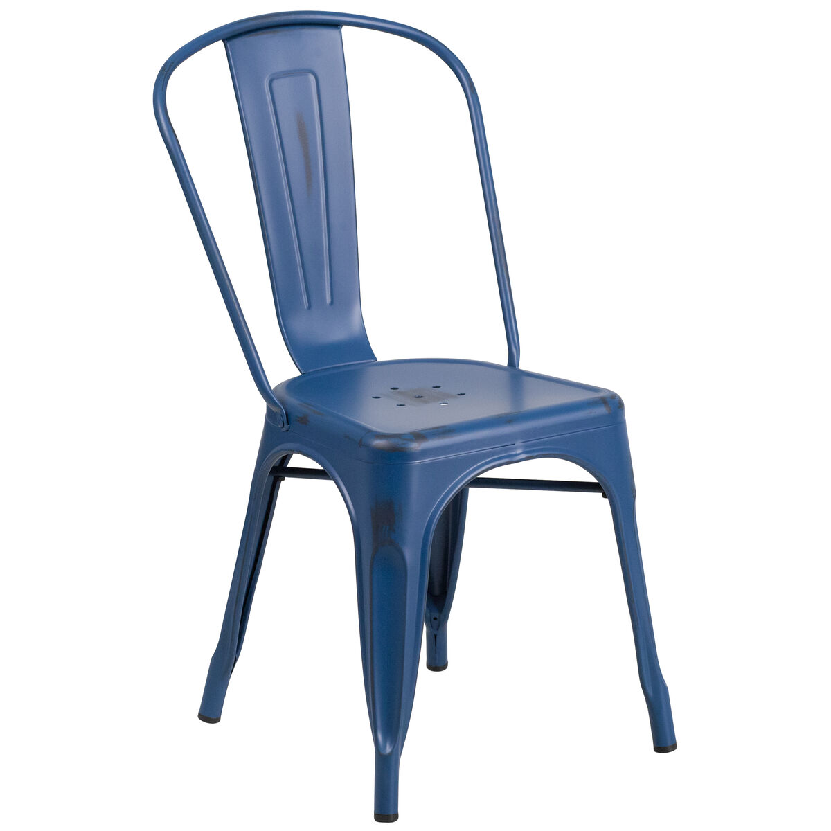 ... Our Distressed Antique Blue Metal Indoor-Outdoor Stackable Chair is on  sale now. - Distressed Blue Metal Chair ET-3534-AB-GG ChurchChairs4Less.com