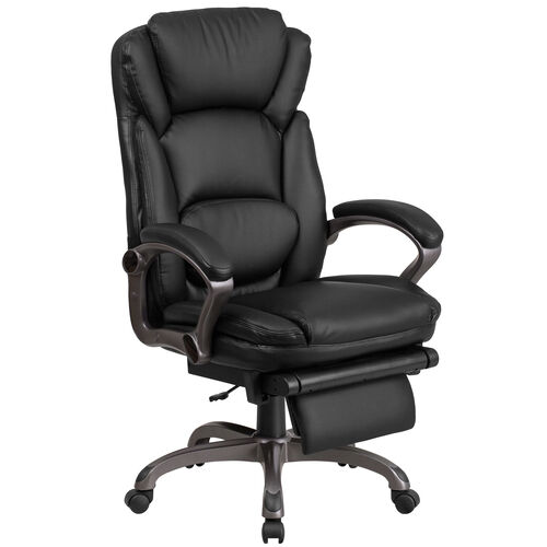 Our High Back Black Leather Executive Reclining Ergonomic Swivel Office Chair with Outer Lumbar Cushion and Arms is on sale now.
