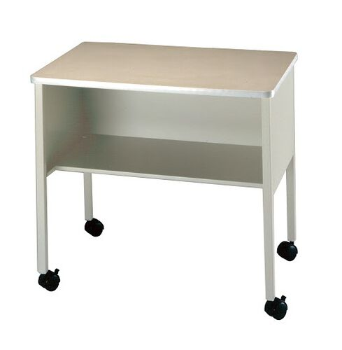 Mobile Machine Stand with Interior Shelf - Gray Low Pressure Laminate with Dove Gray Paint
