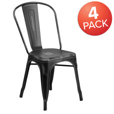 Commercial Grade 4 Pack Distressed Black Metal Indoor-Outdoor Stackable Chair