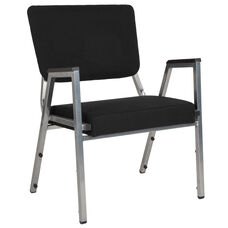 HERCULES Series 1500 lb. Rated Black Antimicrobial Fabric Bariatric Antimicrobial Medical Reception Arm Chair with 3/4 Panel Back